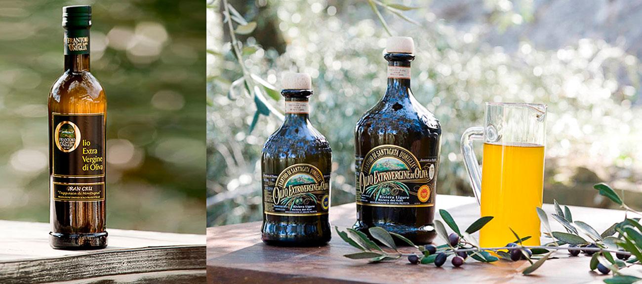 bottiglie di olio del frantoio sant'agata d'oneglia
