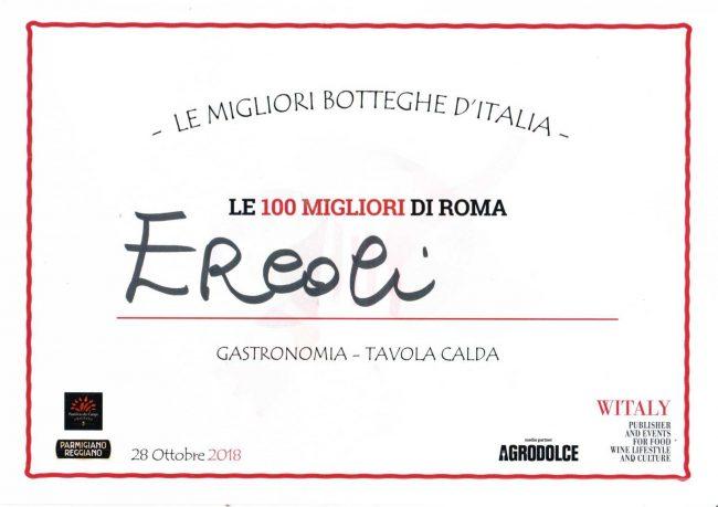 attestato del premio di ercoli come le migliori botteghe d'italia