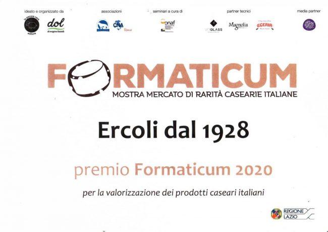 attestato di ercoli per il premio formaticum 2020